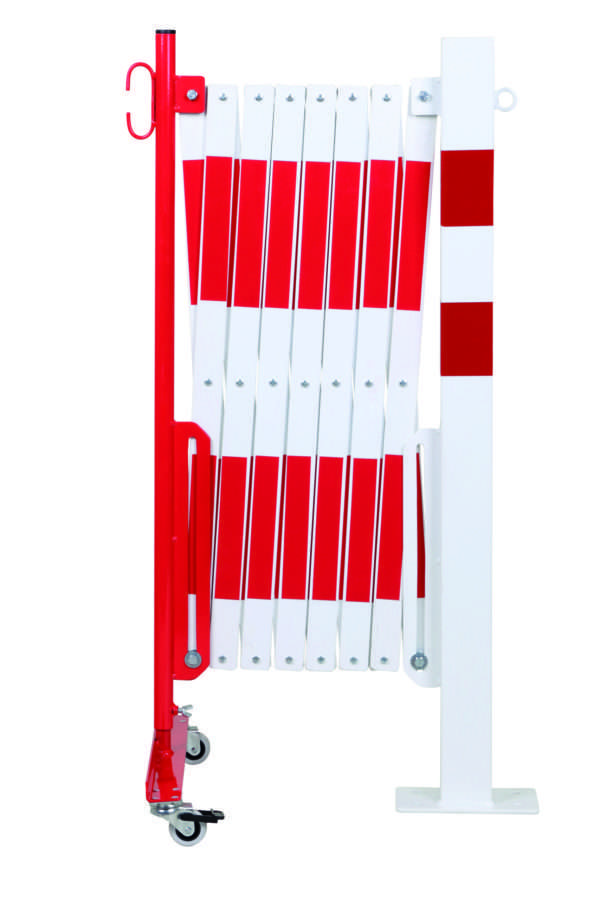 Barrière extensible rouge-blanc 4m avec poteau 70x70 et rouleaux