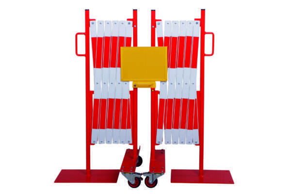 Kit 2 pcs. barrière extensible rouge-blanc 2,0m