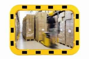 Miroir industriel 40x60, cadre jaune-noir