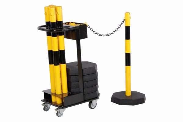Chariot de transport avec poteaux à chaînes jaune-noir