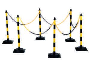 Kit de chaîne de poteau avec 6 poteaux jaune-noir